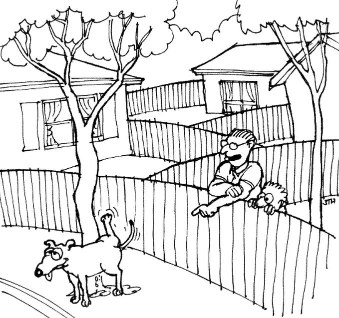 Дивись, сину, так він позначає свою територію, щоб на неї не заходили інші собаки. Його поведінка базується на інстинкті і властиво нижчих тварин, які не вміють думати.